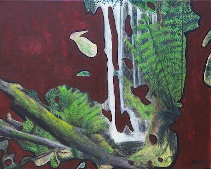 Russell Falls.  Modern abstract landscape painting