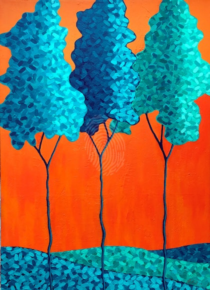 Shades Of Blue Trees