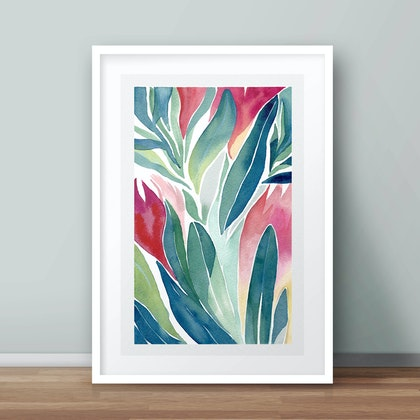 Limited edition 1/50 Winter Proteas no.2 — floral watercolour painting print of Australian native flowers Ed. 1 of 50