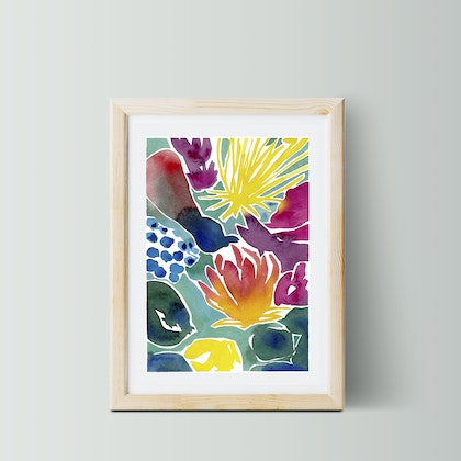 Florescence — a4 — beautiful print for your home/ bedroom/ living room, wall art, colourful, bright, floral watercolour, abstract watercolor  Ask a question Ed. 2 of 50