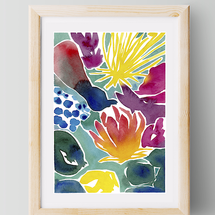 Florescence — a3 — beautiful print for your home/ bedroom/ living room, wall art, colourful, bright, floral watercolour, abstract watercolor  Ask a question - Copy Ed. 1 of 25