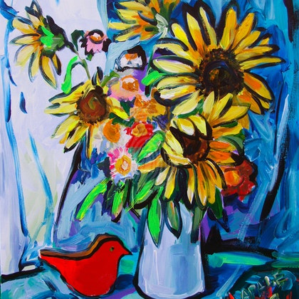 Sunflowers and the Red Bird