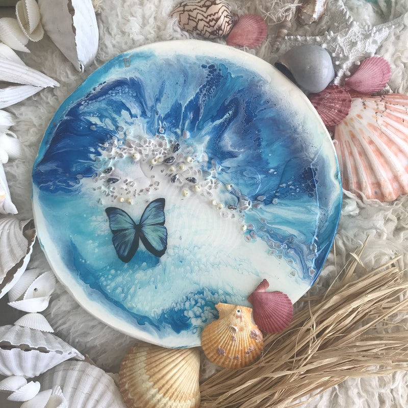 Blue summer   Original Abstract Painting with gemstones and seashells