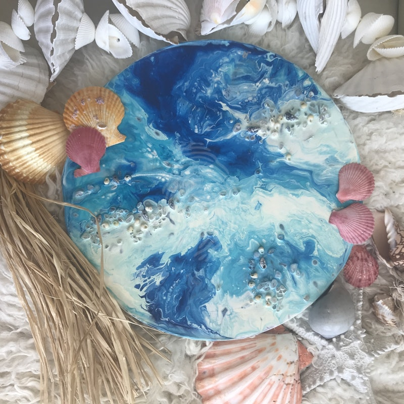 Summer breeze | Original Abstract Painting with gemstones and seashells
