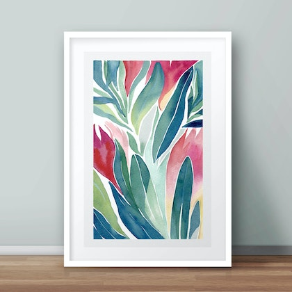 Limited edition 1/50 Winter Proteas no.2 — floral watercolour painting print of Australian native flowers Ed. 2 of 50