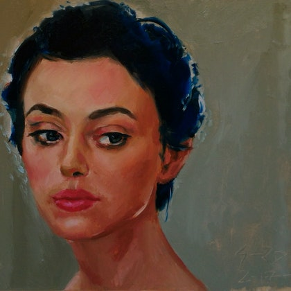 woman in blue and grey