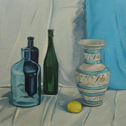 Three bottles vase and lemon liza merkalova bluethumb art 59c8