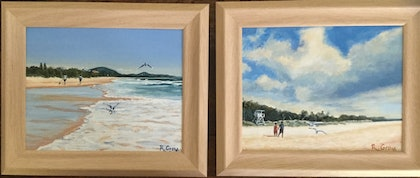 Mount Coolum Beach View and Beach Mood -PAIR OF PAINTINGS