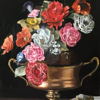 Floral Still life; two