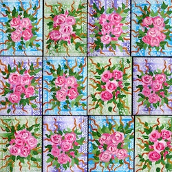 Roses on 12 canvases copy cathy snow bluethumb art 9e85