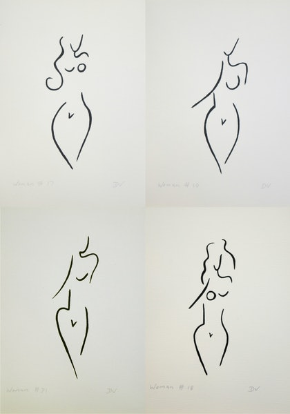 Women series line drawings - set of four - #2