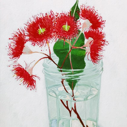 Still life - Gum blossom in a jam jar - paint on paper