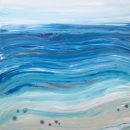 """ORIGINAL ABSTRACT ART PAINTING ON STRETCHED CANVAS  """"BEACH FUN""""   COAST BEACH OCEAN SEA BLUE TURQUOISE SANDY BEIGE WHITE SILVER"""