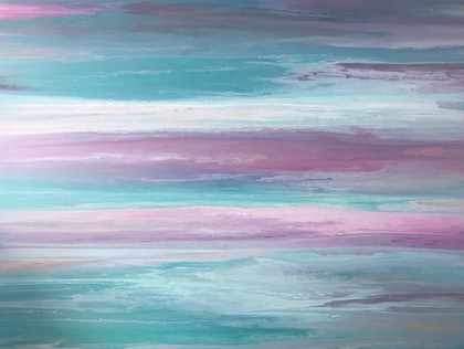 """ORIGINAL ABSTRACT ART PAINTING ON STRETCHED CANVAS  """"SUNRISE SKY""""   COAST BEACH OCEAN SEA BLUE TURQUOISE PINK PURPLE WHITE"""