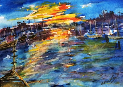 The Breaking of Dawn at the Yamba Marina NSW (watercolour on Fabriano)