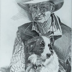 Farmer and his dog peter macdonald bluethumb art db8e