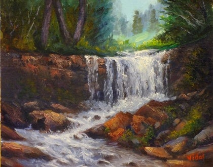 Oil painting Waterfall 1
