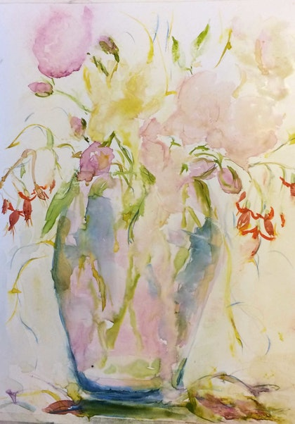 Roses and Fuchsias in Vase on Yupo (watercolour)