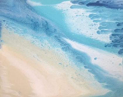 """ORIGINAL ABSTRACT ART PAINTING ON STRETCHED CANVAS  """"THE COVE"""" COAST BEACH OCEAN SEA BLUE TURQUOISE SANDY BEIGE WHITE"""