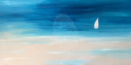 """ORIGINAL ABSTRACT ART PAINTING ON STRETCHED CANVAS  """"SOLO SAILING"""" COAST BEACH OCEAN SEA BLUE TURQUOISE SANDY BEIGE WHITE"""