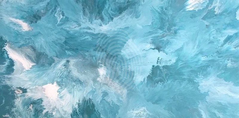 """ORIGINAL ABSTRACT ART PAINTING ON STRETCHED CANVAS  """"TEAL DEAL""""  METALLIC TEAL MINT GREEN SILVER WHITE"""