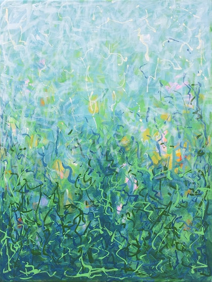 'The Forever Garden Sketch' 30.5 x 40.5 cm square Acrylic Painting on Canvas, Ready to hang