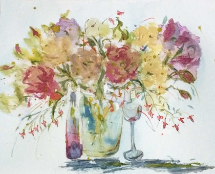 Celebrations : flowers and wine (watercolour)