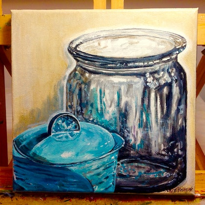 Still life with blue pot and  glass jug