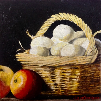 Still life with basket of eggs and apples