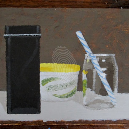 Still Life with Glass Bottle and Stripy Straw  - Shellie Cleaver