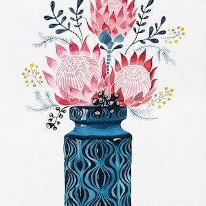 Pink proteas in west german onion vase sally browne bluethumb art 0e9d