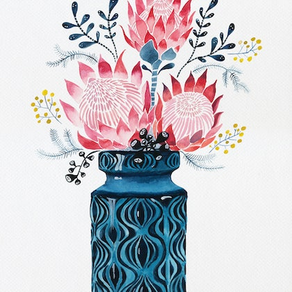 Pink Proteas in West German Onion Vase Ed. 6 of 25