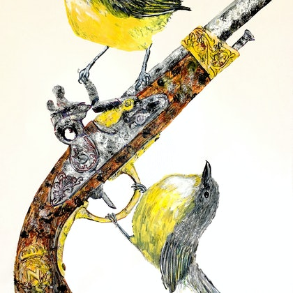 YELLOW-BREASTED ROBINS WITH COLONIAL FLINTLOCK PISTOL