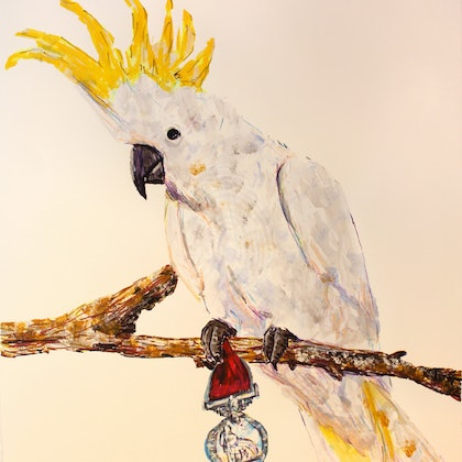 COCKATOO WITH BRITISH IMPERIAL MEDAL