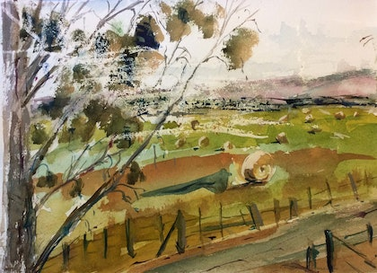 Preparing for Winter - along the Kilmore/Lancefield Road in Lancefield (watercolour)