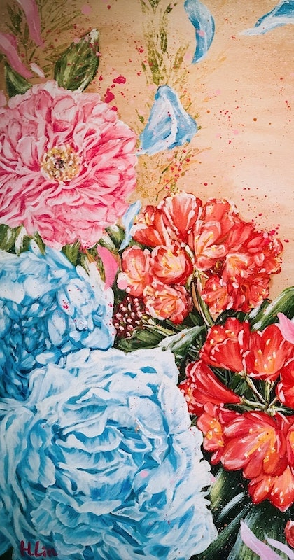 POISE AND PRIDE- Peony And Bush Lily -LIMITED EDITION GICLEE PRINT Ed. 3 of 100