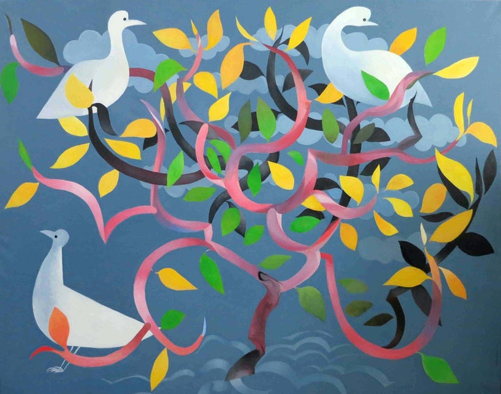 Three doves in frangipani (Peace doves) - Major work exhibited at Yering Station Gallery