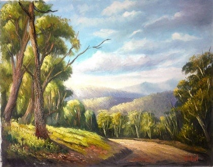 Along the Alpine Road -  oil on Loose Canvas