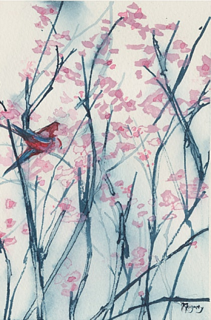 Blossoms and Birds ii - Original Ink Drawing