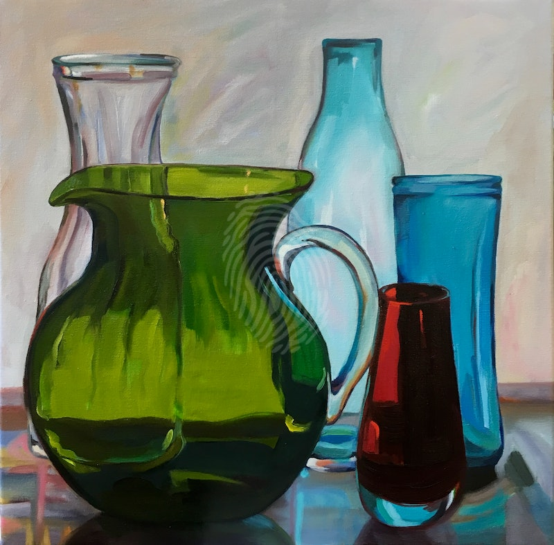 Green Jug with red vase