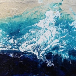 Huge 240cm x 100cm beach wash huge acrylics ink and gloss finish on a textured base arrives ready to hang deep edged quality canvas   franko   bluethumb art 00ba