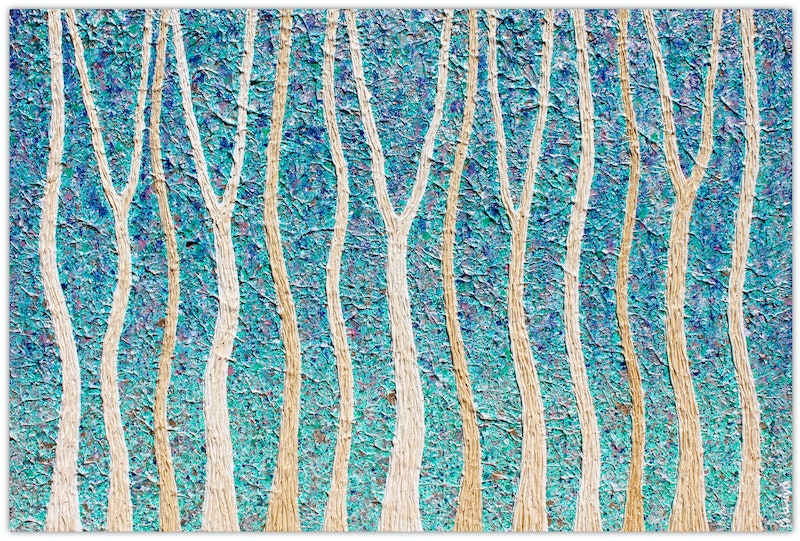Trees - Coastal Forest by Night - textural abstract