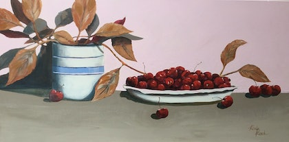 Cherry's and dried leaves