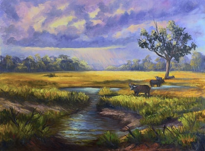 Moody afternoon on the wetlands, Northern Territory Oil on Belgian linen