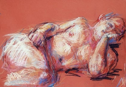 Male Nude Life Drawing  - Reclining