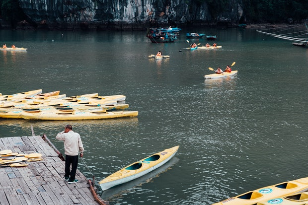 Kayaks in Ha Long Bay