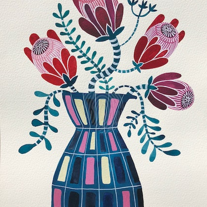 Private Commission - Magenta and Red Proteas in Retro Vase 2