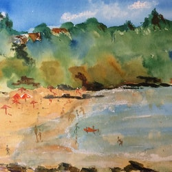 A day at the beach watercolour on watercolour paper margaret morgan watkins bluethumb art 5ba8