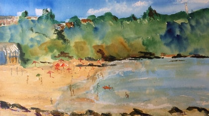 A Day at the Beach (watercolour on watercolour paper)