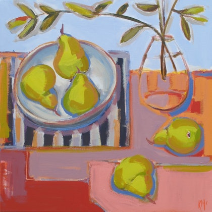 BLOWN GLASS WITH PEARS
